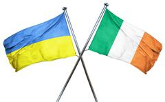 Ukraine flag with Ireland flag, 3D rendering - stock illustration