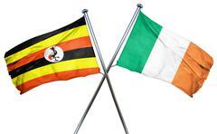 Uganda flag with Ireland flag, 3D rendering - stock illustration