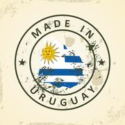 Stamp with map flag of Uruguay Stock Illustration