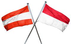 Austria flag with Indonesia flag, 3D rendering - stock illustration