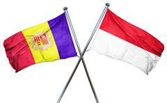 Andorra flag with Indonesia flag, 3D rendering Stock Illustration