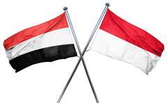 Yemen flag with Indonesia flag, 3D rendering Stock Illustration