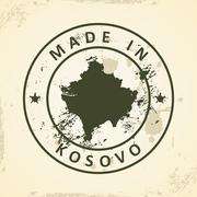 Stamp with map of Kosovo - stock illustration