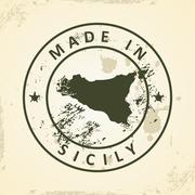 Stamp with map of Sicily - stock illustration