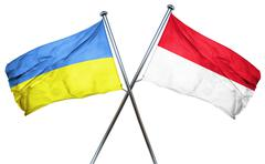 Ukraine flag with Indonesia flag, 3D rendering - stock illustration