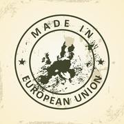 Stamp with map of European Union 2015 - stock illustration