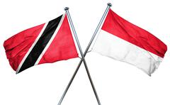 Trinidad and tobago flag with Indonesia flag, 3D rendering Stock Illustration