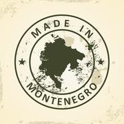 Stamp with map of Montenegro Stock Illustration