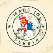 Stamp with map flag of Serbia - stock illustration