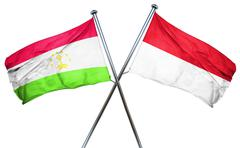 Tajikistan flag with Indonesia flag, 3D rendering Stock Illustration