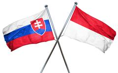 Slovakia flag with Indonesia flag, 3D rendering - stock illustration