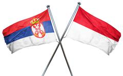 Serbia flag with Indonesia flag, 3D rendering - stock illustration