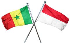 Senegal flag with Indonesia flag, 3D rendering - stock illustration