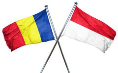 Romania flag with Indonesia flag, 3D rendering Stock Illustration