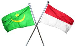 Mauritania flag with Indonesia flag, 3D rendering - stock illustration