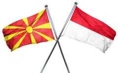 Macedonia flag with Indonesia flag, 3D rendering - stock illustration