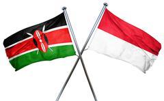 Kenya flag with Indonesia flag, 3D rendering - stock illustration