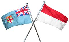 Fiji flag with Indonesia flag, 3D rendering Stock Illustration