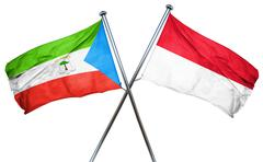 Equatorial guinea flag with Indonesia flag, 3D rendering - stock illustration
