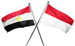 Egypt flag with Indonesia flag, 3D rendering - stock illustration
