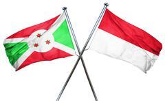 Burundi flag with Indonesia flag, 3D rendering Stock Illustration