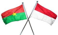 Burkina Faso flag with Indonesia flag, 3D rendering - stock illustration