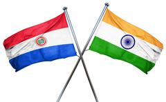 Paraguay flag with India flag, 3D rendering Stock Illustration