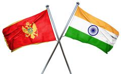 Montenegro flag with India flag, 3D rendering Stock Illustration