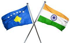 Kosovo flag with India flag, 3D rendering - stock illustration