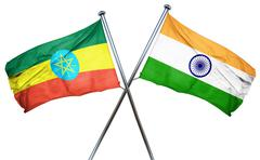 Ethiopia flag with India flag, 3D rendering Stock Illustration