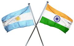 Argentina flag with India flag, 3D rendering - stock illustration