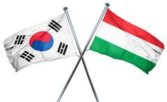 South korea flag with Hungary flag, 3D rendering Stock Illustration