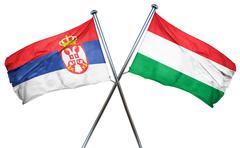 Serbia flag with Hungary flag, 3D rendering - stock illustration
