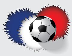 Euro 2016 France football championship with soccer ball and france flaf color - stock illustration