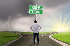 Choosing order or chaos 1 - stock photo