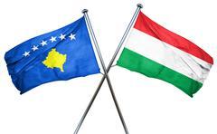 Kosovo flag with Hungary flag, 3D rendering - stock illustration