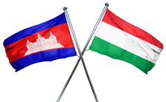 Cambodia flag with Hungary flag, 3D rendering Stock Illustration