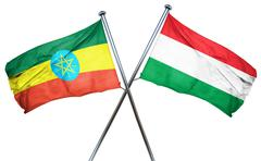 Ethiopia flag with Hungary flag, 3D rendering Stock Illustration