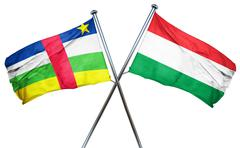 Central african republic flag with Hungary flag, 3D rendering - stock illustration