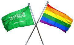Saudi Arabia flag with rainbow flag, 3D rendering Stock Illustration
