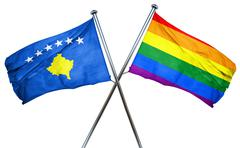 Kosovo flag with rainbow flag, 3D rendering Stock Illustration