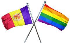 Andorra flag with rainbow flag, 3D rendering Stock Illustration