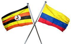 Uganda flag with Colombia flag, 3D rendering - stock illustration