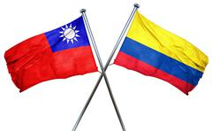 Republic of china flag with Colombia flag, 3D rendering - stock illustration