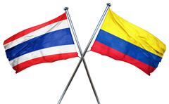 Thailand flag with Colombia flag, 3D rendering - stock illustration