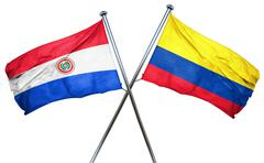 Paraguay flag with Colombia flag, 3D rendering Stock Illustration