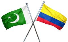 Pakistan flag with Colombia flag, 3D rendering - stock illustration