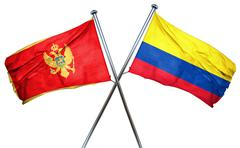 Montenegro flag with Colombia flag, 3D rendering - stock illustration