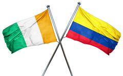 Ivory coast flag with Colombia flag, 3D rendering - stock illustration