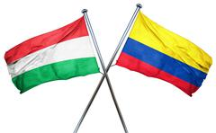Hungary flag with Colombia flag, 3D rendering - stock illustration
